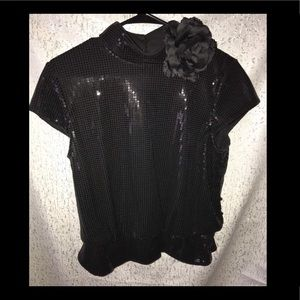 Black Sequined Top sz 12